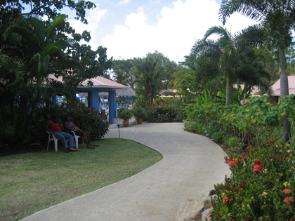 Pathway to the pool deck