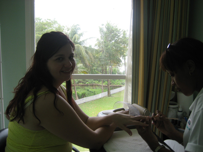 Getting her manicure for the wedding